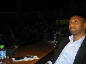 AU staff watching the broadcast of Obama's speech