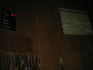 Obama's speech was broadcast for AU staff members in the Plenary Hall